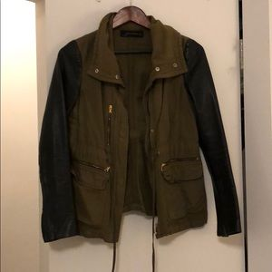 Army Green with Leather sleeved Spring jacket